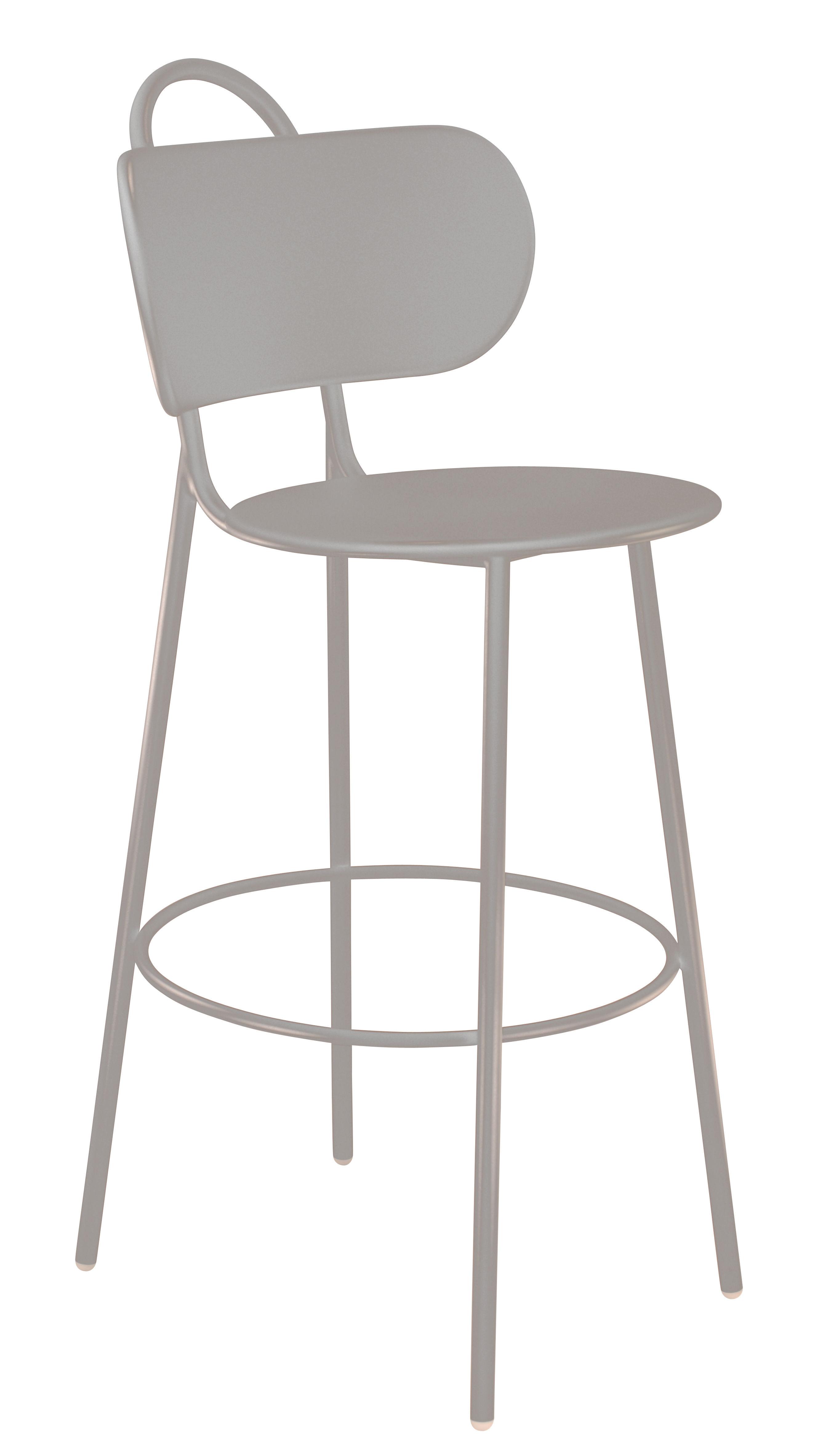 Mobilier - Tabourets de bar - Chaise de bar Swim / Intérieur & extérieur - H 74 cm - Bibelo - Blanc - Métal peint époxy