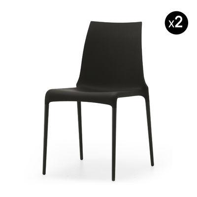 Mobilier - Chaises, fauteuils de salle à manger - Chaise empilable Petra / Set de 2 - Cinna - Noir - Aluminium laqué