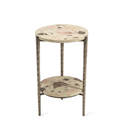 Furniture - Coffee Tables - Nougat End table - / Ø 37 x H 55 cm - Terrazzo by Pols Potten - Cream - Patinated nickel-plated iron, Terrazzo