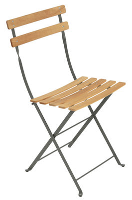 Furniture - Chairs - Bistro Folding chair - Metal & wood by Fermob - Rosemary / Wood - Painted steel, Treated beechwood