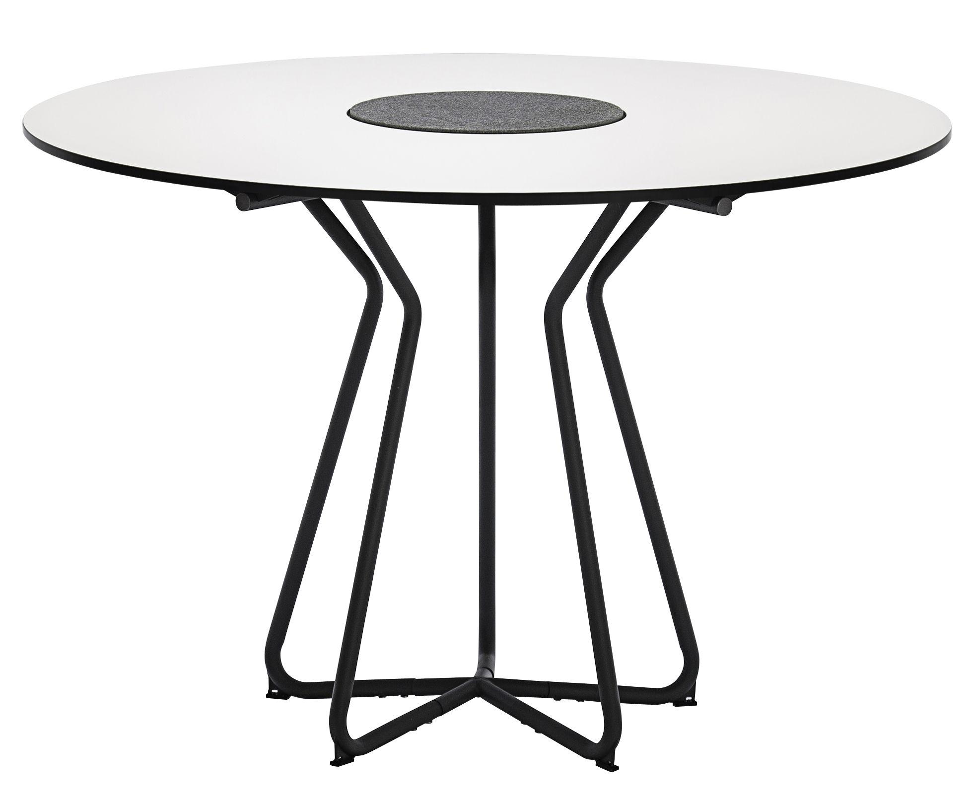 Circle Gartentisch O 110 Cm Schichtpressstoff Granit Weiss