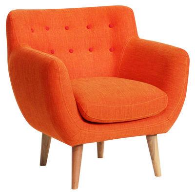 Möbel - Lounge Sessel - Coogee Gepolsterter Sessel - Sentou Edition - Orangerot / Grenadine - Gewebe, Holz, Schaumstoff