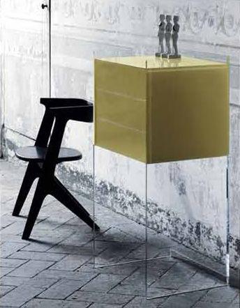 Möbel - Konsole - Float Konsole 3 Schubladen - H 113 cm - Glas Italia - Blassgelb - Kristall, Wenge