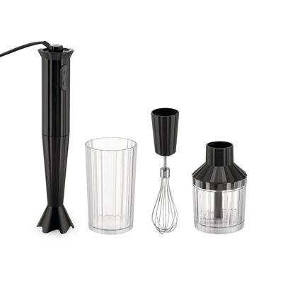 Mixer plongeant Plissé / 500 W - Avec bol gradué, hachoir & fouet - Alessi noir en matière plastique