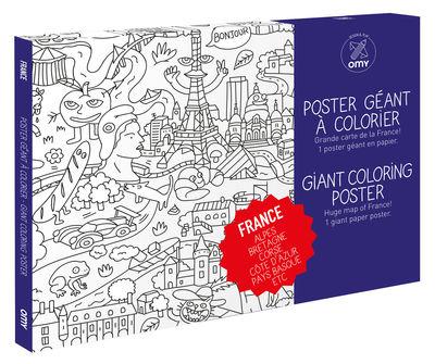 Déco - Pour les enfants - Poster à colorier France / 100 x 70 cm - OMY Design & Play - France - Papier recyclé