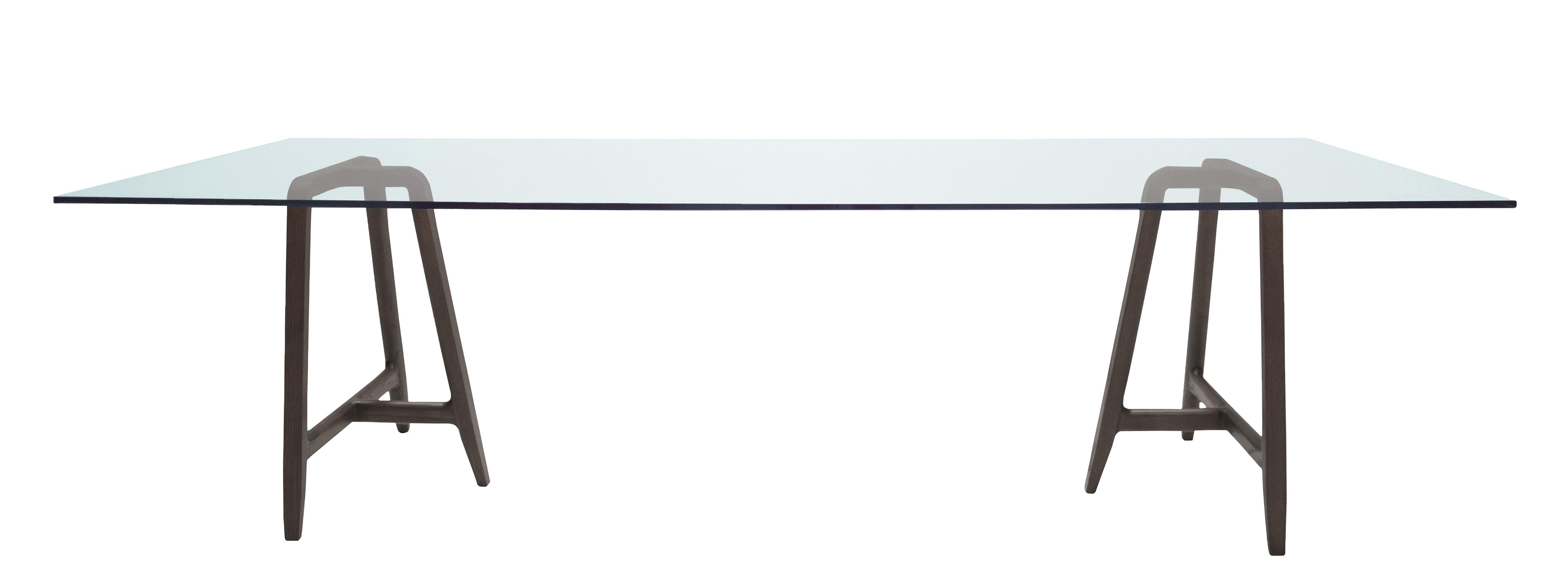 Möbel - Tische - Easel rechteckiger Tisch / 220 x 90 cm - Glas - Driade - Nussbaum / gehärtetes Glas - Einscheiben-Sicherheitsglas, Nussbaum massiv