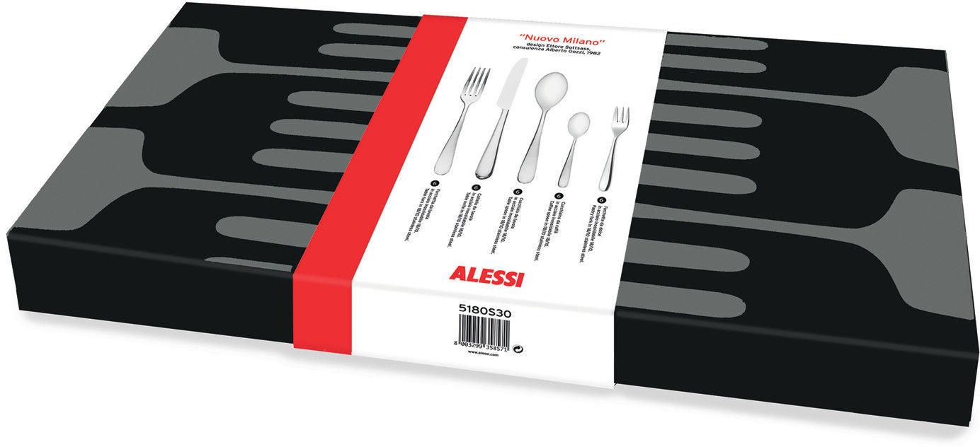 Arts de la table - Couverts de table - Set de couverts Nuovo Milano / 6 personnes  : 30 pièces - Alessi - Acier poli - Acier inoxydable poli