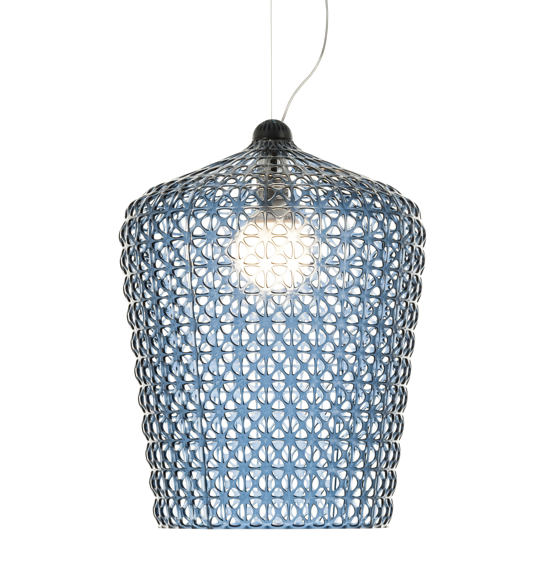 Illuminazione - Lampadari - Sospensione Kabuki - / Ø 50 x H 63 cm - Plastica traforata di Kartell - Blu trasparente - Technopolymère thermoplastique