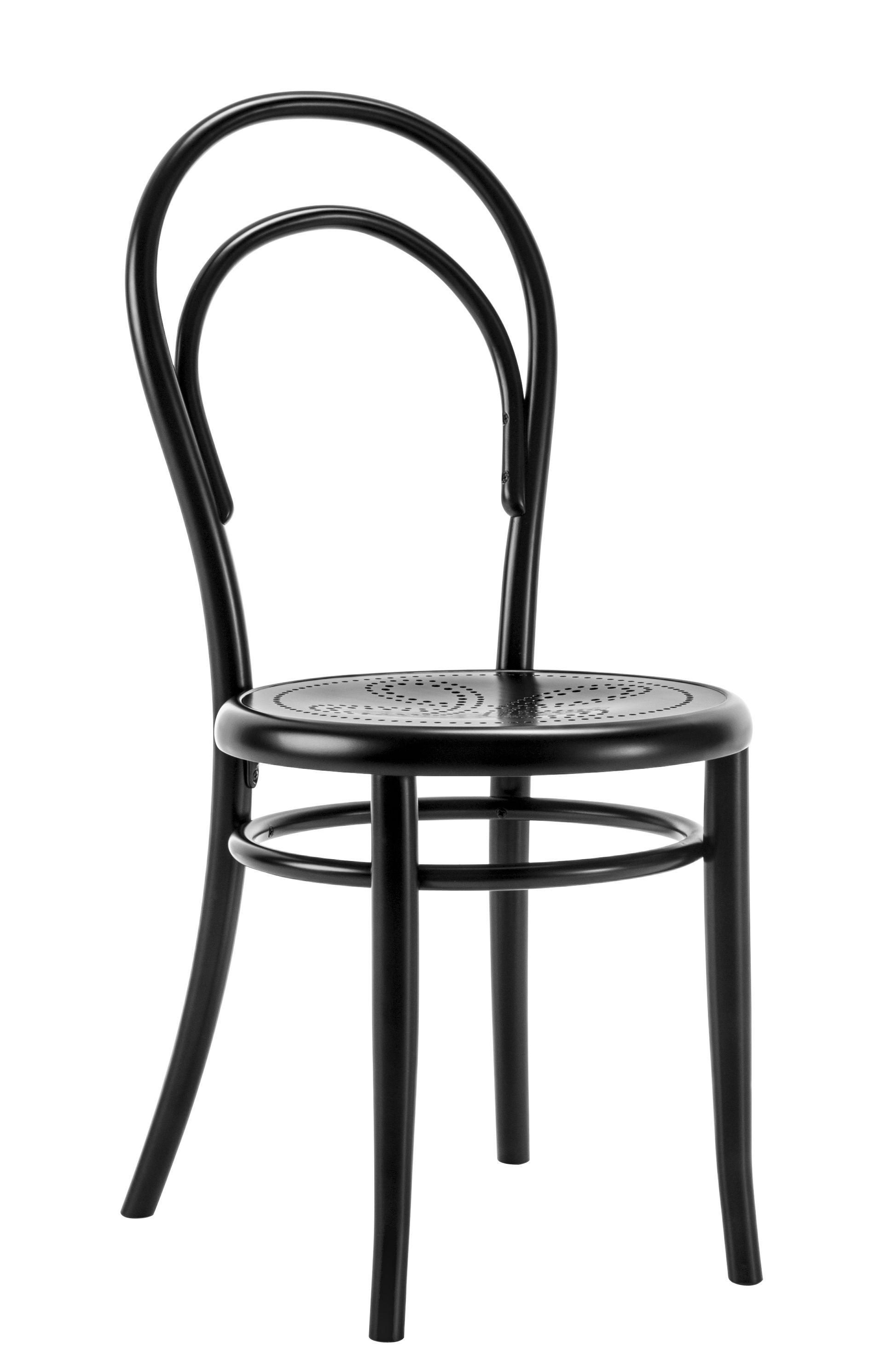 Möbel - Stühle  - N° 14 Stuhl / gelöcherte Sitzfläche - Neuauflage des Originals aus dem Jahr 1860 - Wiener GTV Design - Sitzfläche mit Löchern / schwarz - Gewölbte Buche, Perforiertes Buchensperrholz