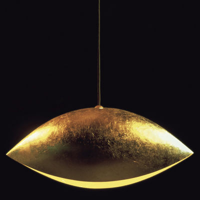 Luminaire - Suspensions - Suspension Malagola / L 55 cm - Catellani & Smith - Or - Aluminium, Feuilles d'or