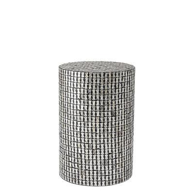 Table d'appoint Gianna Métal nacre Ø 33 x H 49 cm Bloomingville argent noirs (motifs cercles entrecroisés) en métal