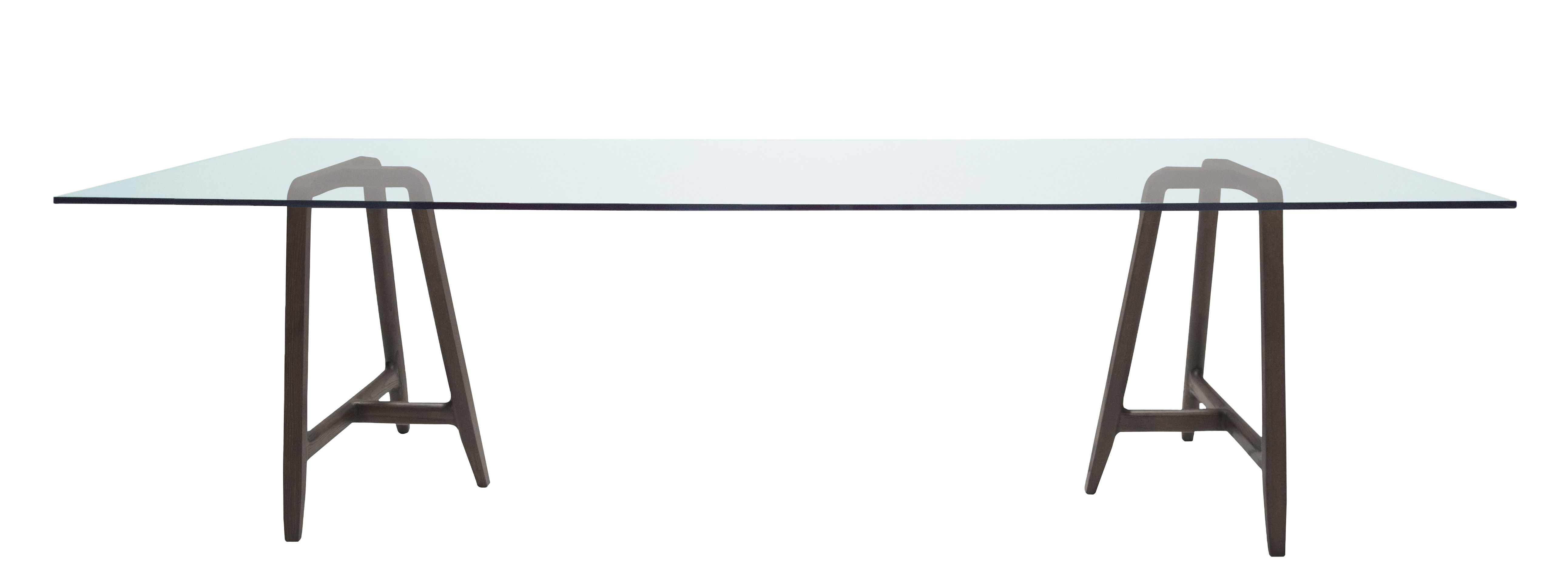 Mobilier - Tables - Table rectangulaire Easel / 220 x 90 cm - Plateau verre - Driade - Plateau verre / Piètement noyer - Noyer massif, Verre trempé