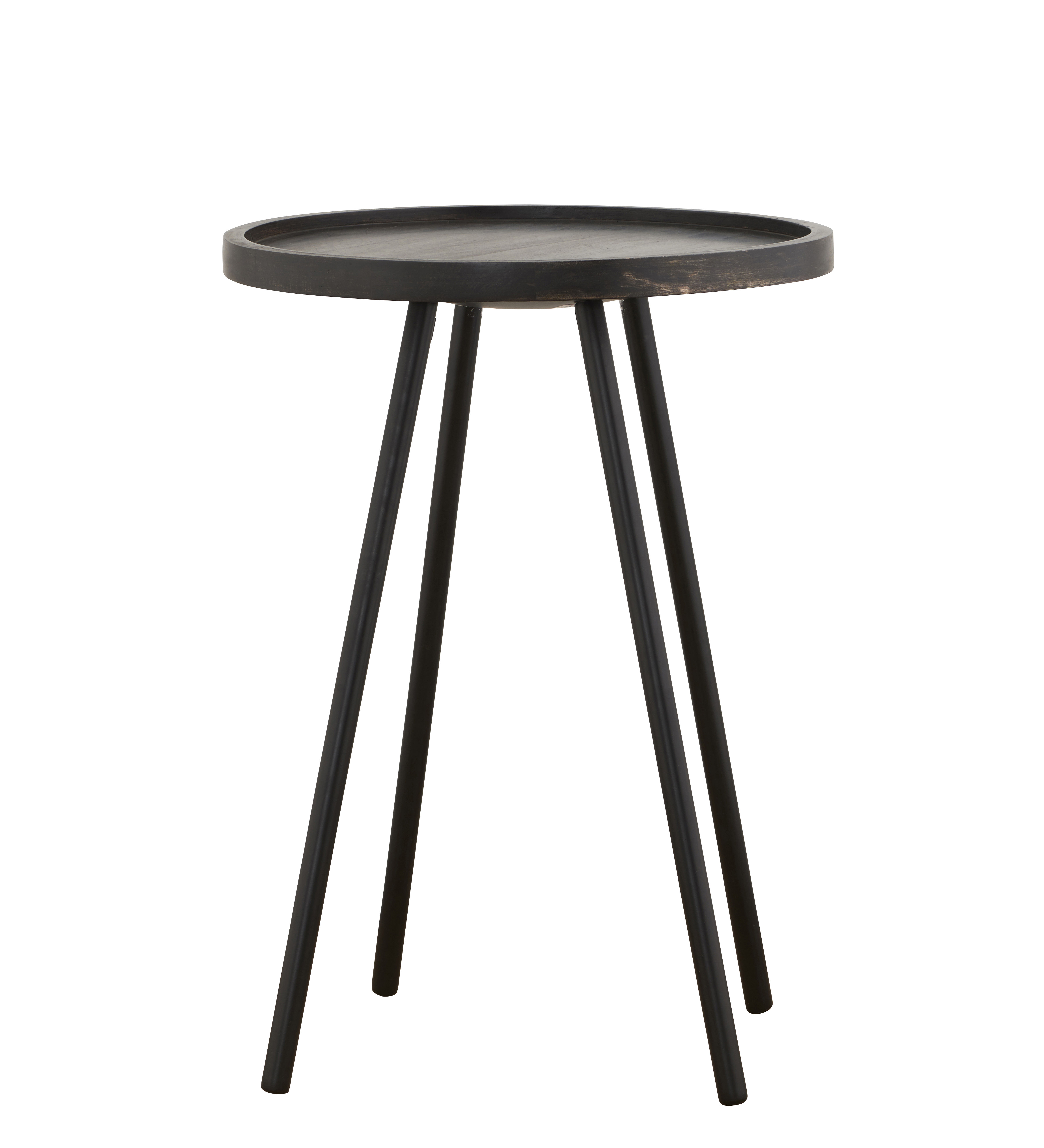 Arredamento - Tavolini  - Tavolino basso Juco / Ø 40 x H 55 cm - House Doctor - Ø 40 x H 55 cm / Nero patinato - Bois de manguier teinté, Ferro dipinto