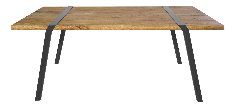 Dossiers - Design industriale - Tavolo rettangolare Pi - L 180 cm di Moaroom - Rovere / Canna da fucile - L 180 cm - Acciaio laccato, Rovere