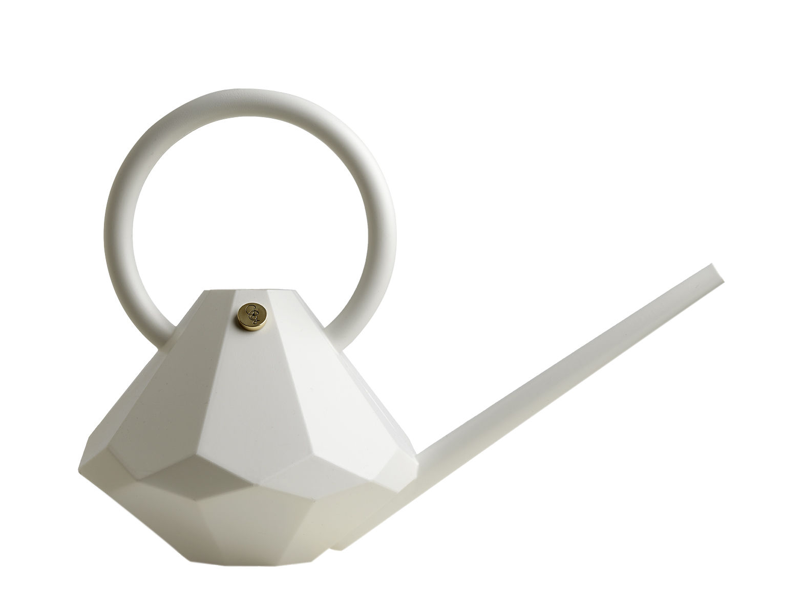 Outdoor - Pots & Plants - Diamond Small Watering can - Plastic - 4 L by Garden Glory - White pearl - Brass, Plastic
