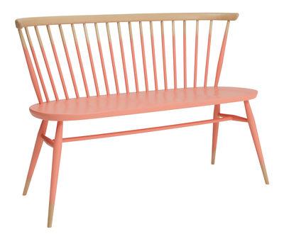 Banc avec dossier Love Seat / L 117 cm - Réédition 1955 - Ercol rose,bois naturel en bois