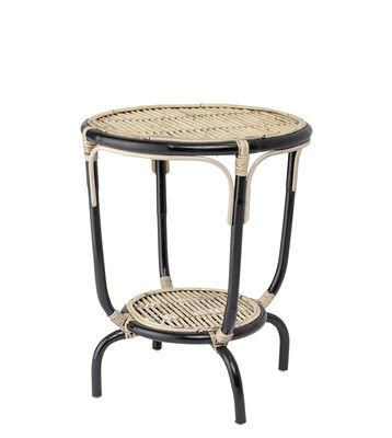 Möbel - Couchtische - Aliana Beistelltisch / Rattan - Ø 50 x H 60 cm - Bloomingville - Schwarz & Natur - Rattan