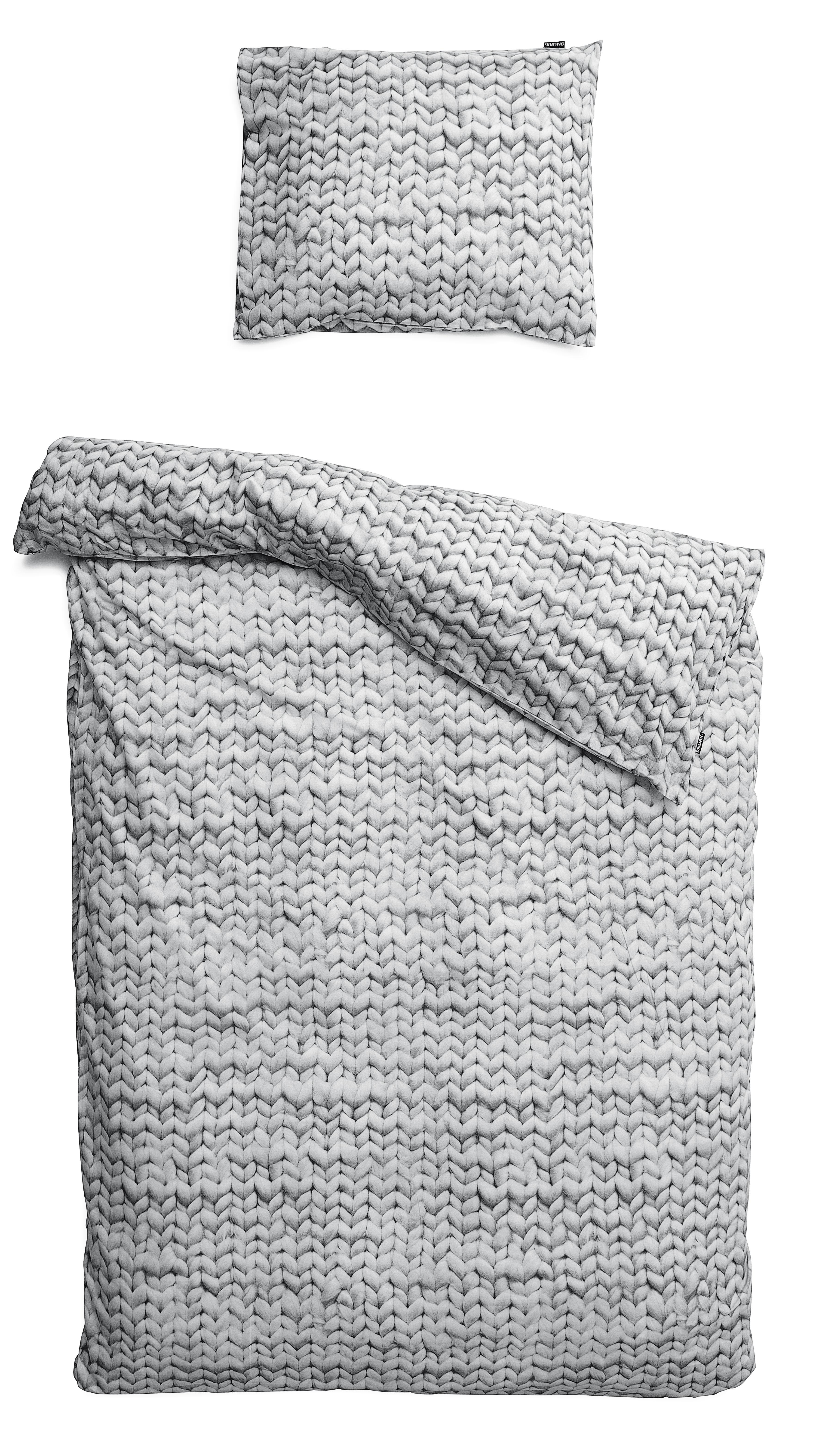 Dekoration - Wohntextilien - Twirre Bettwäsche-Set für 2 Personen / 3-teilig, für 2 Personen - 240 x 220 cm - Snurk - Stricklook, grau - Percale de coton