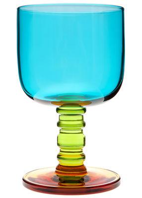 Tavola - Bicchieri  - Bicchiere da vino Sukat Makkaralla di Marimekko - Sukat Makkaralla - turchese, verde, giallo - Vetro soffiato a bocca