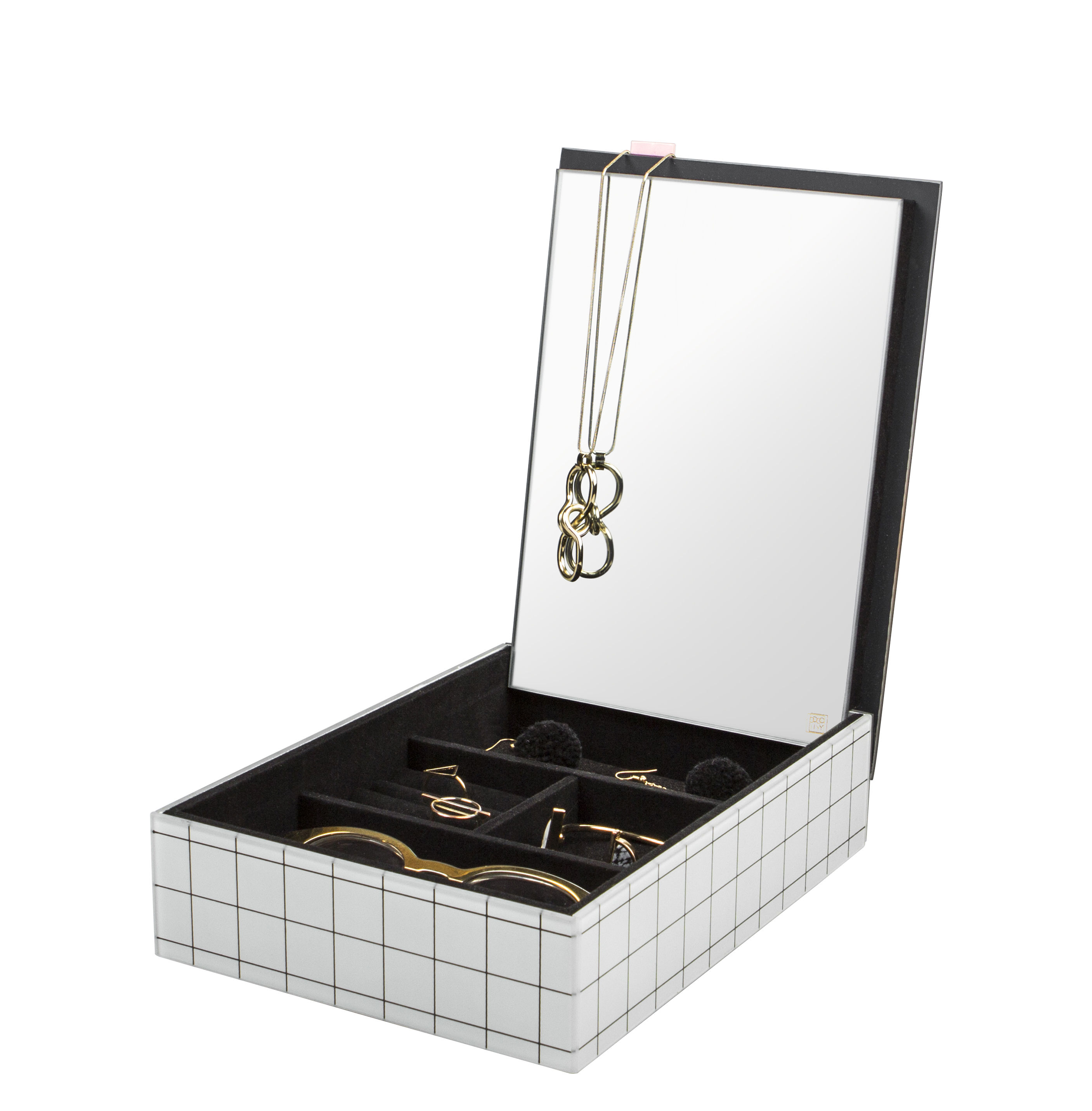 Accessoires - Bijoux, porte-clés... - Boîte à bijoux The Pool / 28 x 20 cm - Doiy - Blanc, Bleu, Rose - MDF, Miroir, Velours