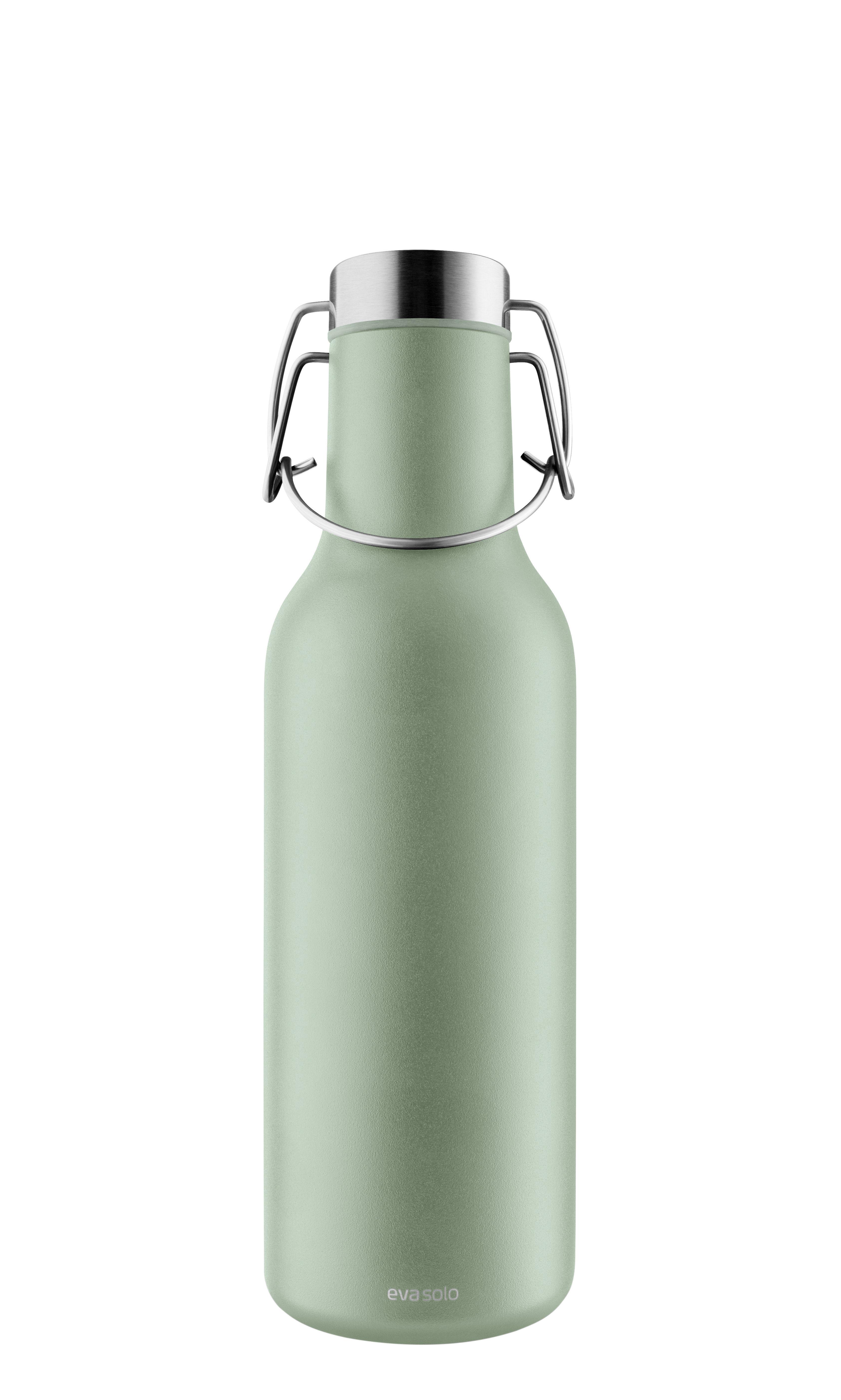 Tavola - Caraffe e Decantatori - Bottiglia isotermica Cool - / 0,7 L di Eva Solo - Verde eucalipto - Acciaio inossidabile, Silicone