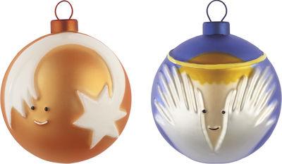 Boule de Noël / Set de 2 : Ange et Etoile filante - A di Alessi multicolore en verre