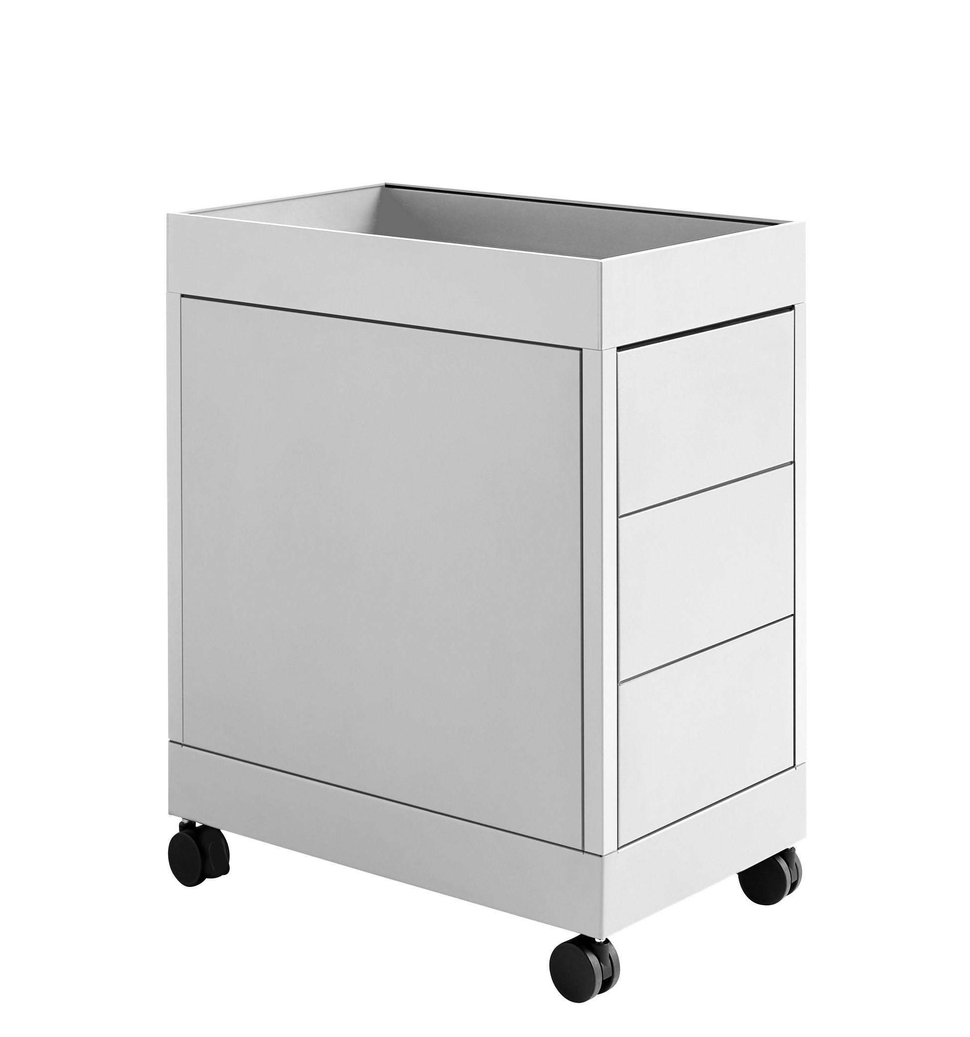 Mobilier - Meubles de rangement - Caisson à roulettes New Order / 3 tiroirs - Hay - Gris clair - Acier laqué