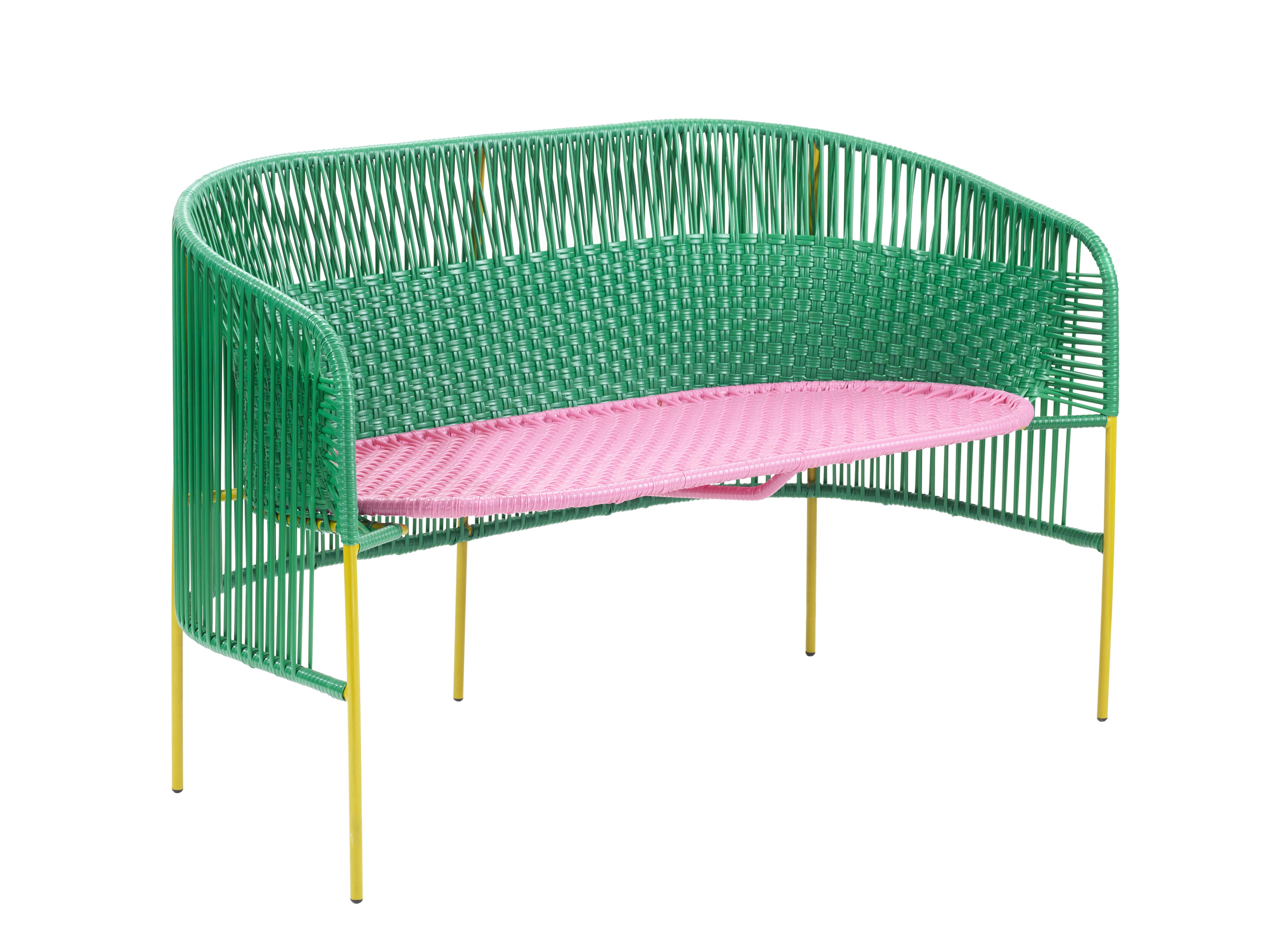 Möbel - Sofas - Caribe Sofa 2 Sitze / 2-Sitzer - L 115 cm - ames - Grün & rosa / Stuhlbeine curry - Recycelte Kunststoffdrähte, Thermolackierter verzinkter Stahl