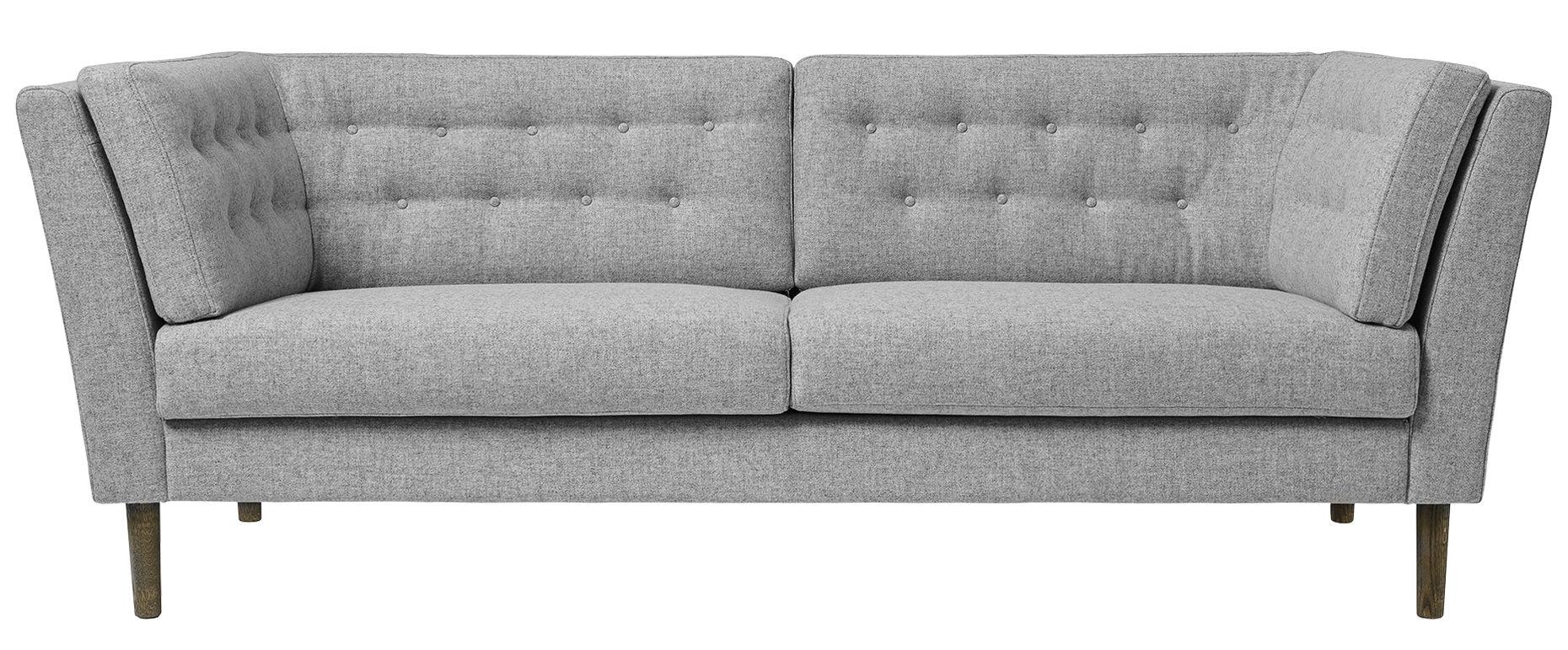 Mobilier - Canapés - Canapé droit Pause / 3 places - L 208 cm - Bloomingville - Gris clair / Piètement chêne fumé - Chêne teinté, Polyester
