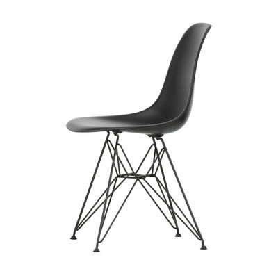 Furniture - Chairs - DSR - Eames Plastic Side Chair Chair - / (1950) - Black legs by Vitra - Black / Black legs - Epoxy lacquered steel, Polypropylene