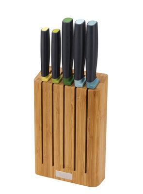 Cuisine - Couteaux de cuisine - Couteau de cuisine Elevate / Set 5 couteaux + support bambou - Joseph Joseph - Bambou - Bambou, Inox japonais, Matière plastique