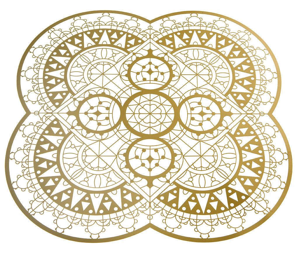 Arts de la table - Dessous de plat - Dessous de plat Petal Italic Lace / 33 x 33 cm - Dessous de plat - Driade Kosmo - Laiton - Laiton