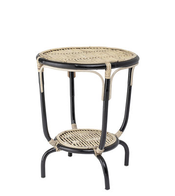 Furniture - Coffee Tables - Aliana End table - / Rattan - Ø 50 x H 60 cm by Bloomingville - Black & natural - Rattan