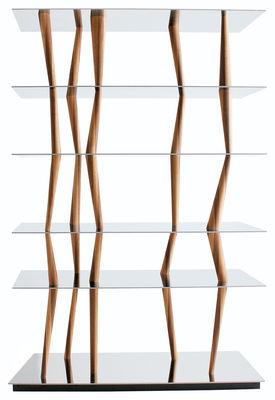Mobilier - Etagères & bibliothèques - Etagère Sendai 6 étagères - H 192 cm - Horm - L 124 x H 192 cm - 6 étagères - Inox poli & Noyer canaletto - Acier inoxydable poli, Noyer