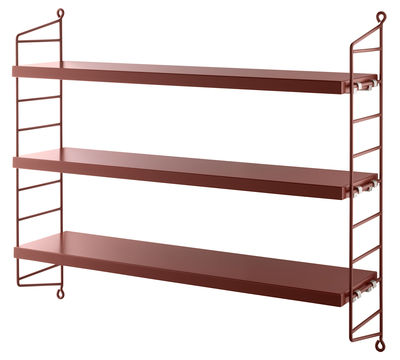 Etagère String Pocket / L 60 x H 50 cm - String Furniture bordeaux en métal