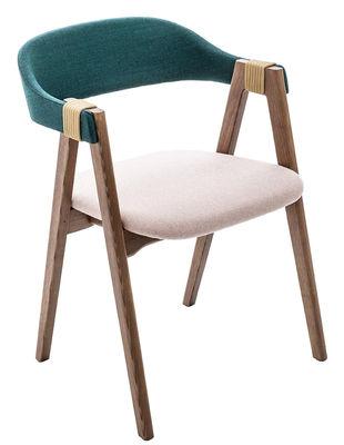 Mobilier - Chaises, fauteuils de salle à manger - Fauteuil rembourré Mathilda / Tissu & bois - Moroso - Turquoise / Rose pâle / Frêne teinté  - Mousse, Noyer massif, Tissu Kvadrat