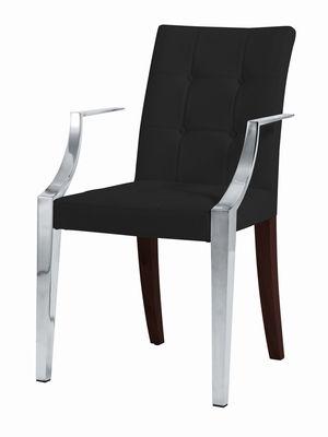 Möbel - Stühle  - Monseigneur Gepolsterter Sessel - Driade - schwarzes Leder - Holz, Leder, rostfreier Stahl