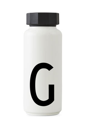Tableware - Water Carafes & Wine Decanters - A-Z Insulated bottle - / 500 ml - Letter G by Design Letters - White / Letter G - Polypropylene, Stainless steel