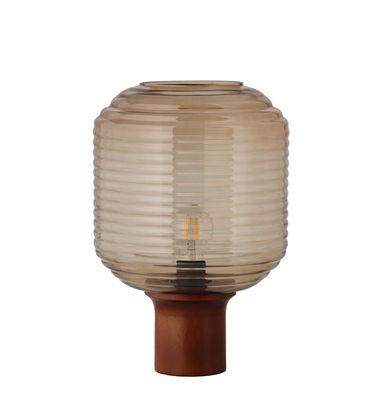 Illuminazione - Lampade da tavolo - Lampada da tavolo Honey di Frandsen - Ambra / Legno scuro - Legno dell'albero della gomma tinto, Vetro