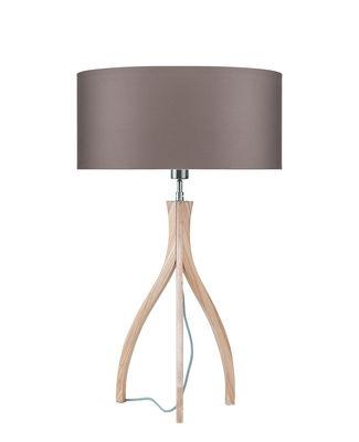 Illuminazione - Lampade da tavolo - Lampada da tavolo Montréal - / Legno & tessuto di It's about Romi - Grigio fumé / Piede legno - Cotone, Frassino