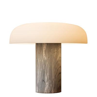 Illuminazione - Lampade da tavolo - Lampada da tavolo Tropico Grande - / LED - H 40 cm / Vetro & marmo di Fontana Arte - Marbre gris - Marmo, Metallo galvanizzato, vetro soffiato