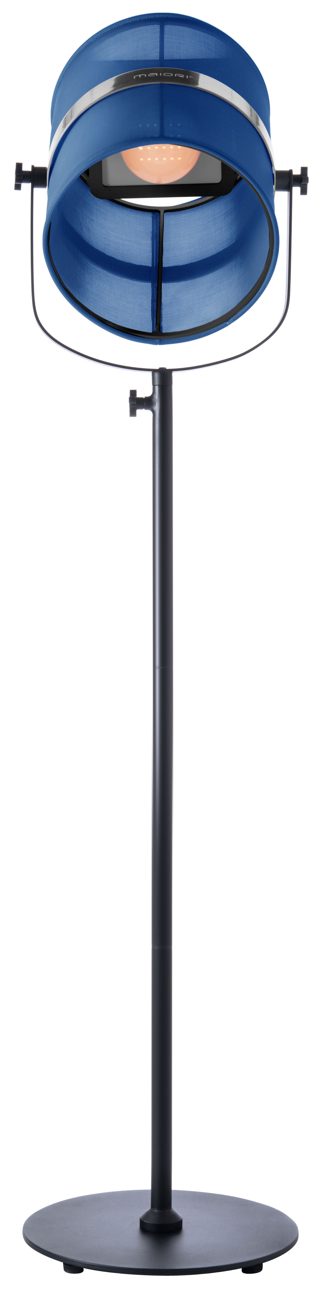 Luminaire - Lampadaires - Lampadaire solaire La Lampe Paris LED / Sans fil - Maiori - Bleu marine / Pied noir - Aluminium peint, Tissu