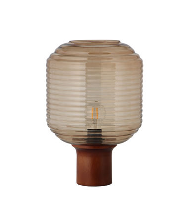 Luminaire - Lampes de table - Lampe de table Honey / Verre & bois - Frandsen - Ambre / Bois foncé - Bois d'hévéa teinté, Verre