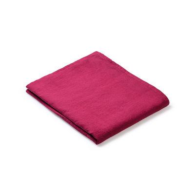 Nappe en tissu / 160 x 160 cm - Lin traité TEFLON®anti-tache - Au Printemps Paris rouge en tissu