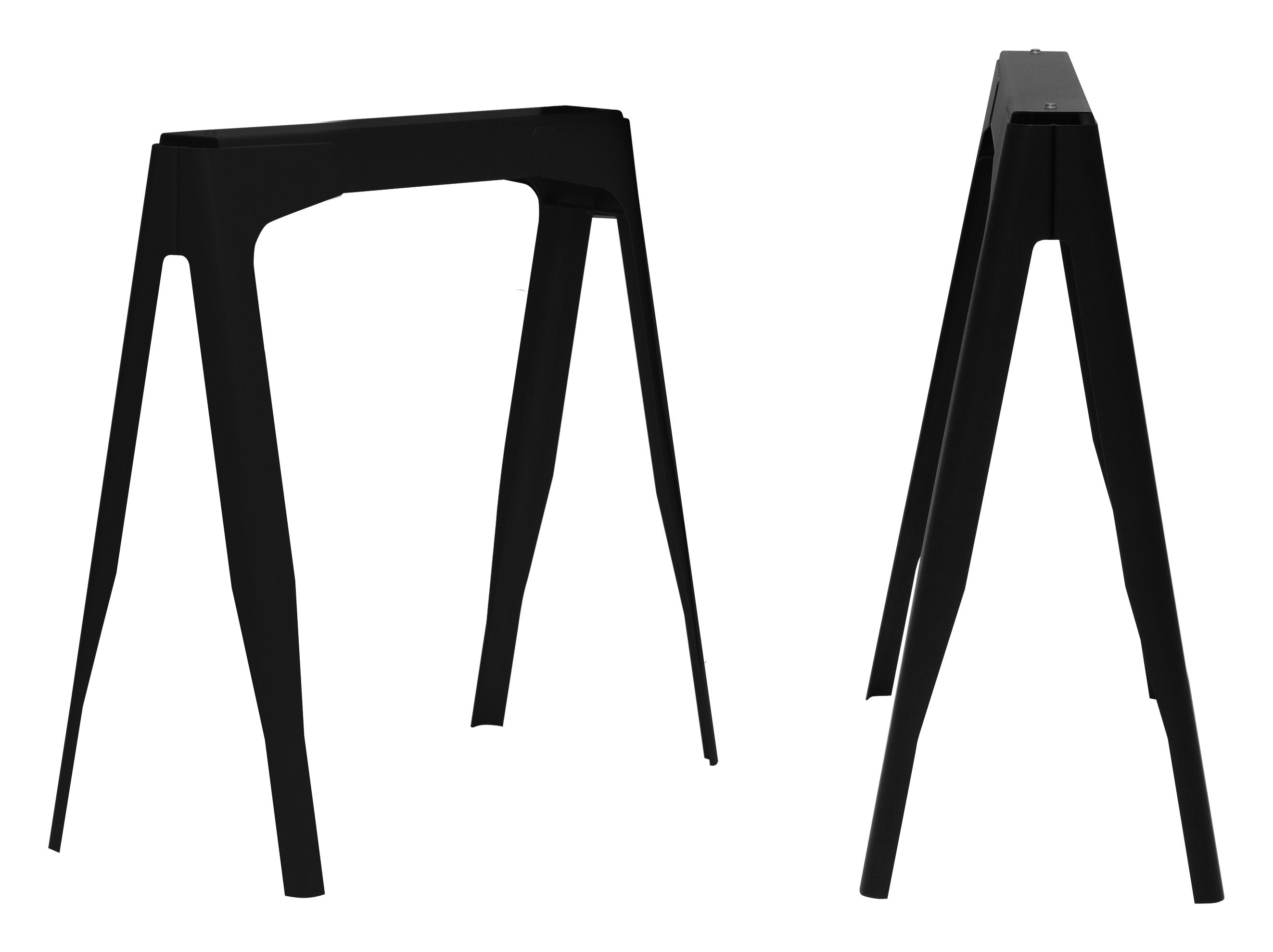 Mobilier - Bureaux - Paire de tréteaux Y / acier laqué - Tolix - Noir laqué brillant - Acier recyclé laqué