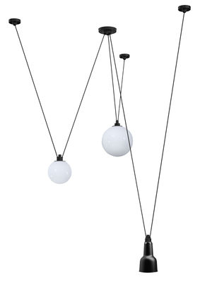 Lighting - Pendant Lighting - Acrobate N°325 Pendant - / Lampes Gras - 3 metal & glass shades by DCW éditions - Black / White glass - Glass, Painted steel