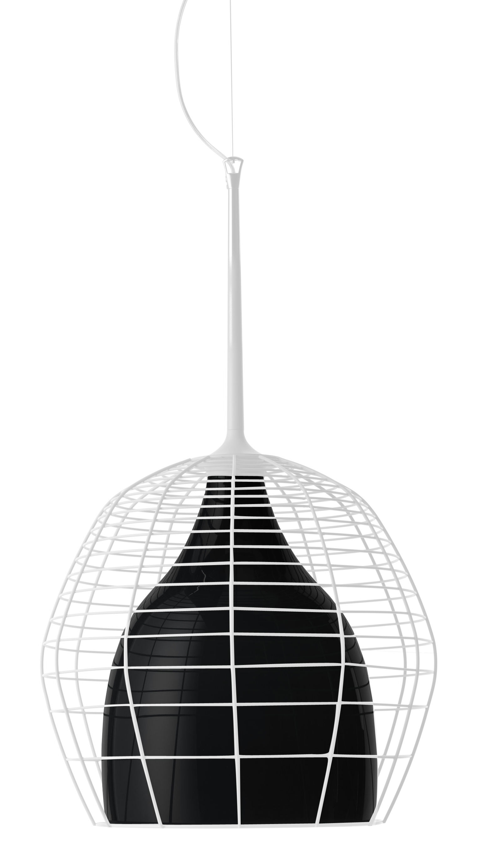 Lighting - Pendant Lighting - Cage Pendant - Ø 46 cm by Diesel with Foscarini - White cage / black internal shade - Blown glass, Lacquered metal