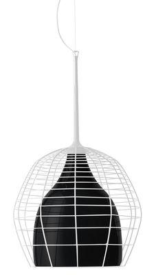 Leuchten - Pendelleuchten - Cage Pendelleuchte Ø 46 cm - Diesel with Foscarini - Metallgitter weiß / Diffusor schwarz - geblasenes Glas, lackiertes Metall