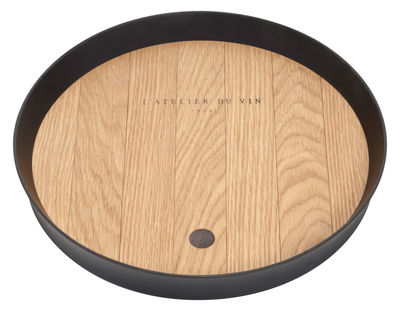 Arts de la table - Plateaux - Plateau Maître de Chai spécial dégustation / En chêne - Ø 37 cm - L'Atelier du Vin - Chêne naturel & noir - Chêne