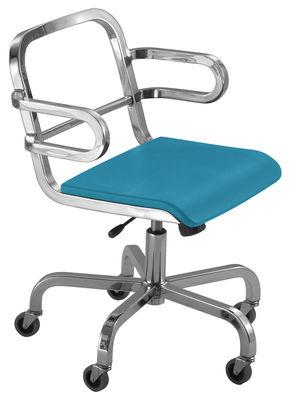 Arredamento - Mobili Ados  - Poltrona a rotelle Nine-O di Emeco - Alluminio opaco / Blu - Alluminio riciclato, Poliuretano
